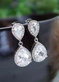 LUX Cubic Zirconia Bridal Earrings