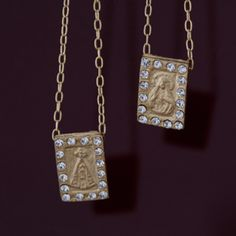 Crystal Pyrite Gold Rectangle Sorte Necklace by Live Worldly