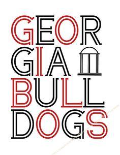 Georgia Bulldogs print, from the Laurkon Designs Collegiate  Collection. etsy. $10.