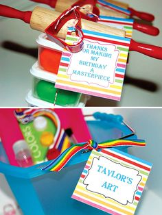 """Cute favors for """"arty party"""""""