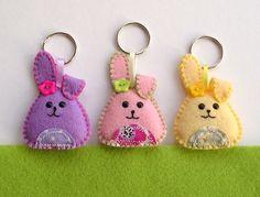 Rabbit Keyring Craft Inspir, Hand Sewn, Gift, Easter, Felt Rabbit, Llavero, Fieltro, Hattif Hand, Feltro