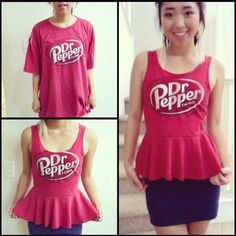 #DIY T-shirt into Peplum Top ...I would never wear a doctor pepper top though