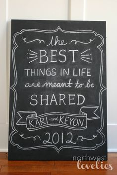 northwest lovelies: Chalkboard Engagement Party Art