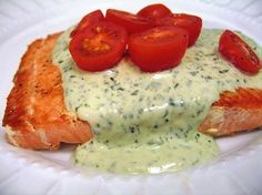 Salmon with Creamy Pesto Sauce