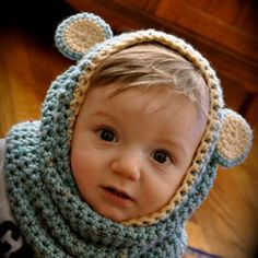 I am making this for Luella this winter :) so easy bear cowl, babi bear, baby bears, cowls, babi headband