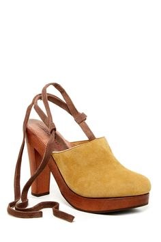 Mustard ankle tie clogs