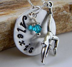 Personalized Gymnastics Necklace Sterling Silver $30.00