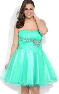 Deb Shops Plus Size Short #Prom #Dress with Stone Side Waist Detail and Mesh Skirt $92.90