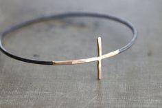 Gold Cross Sideways with Black Sterling Silver by SDMarieJewelry, $98.00