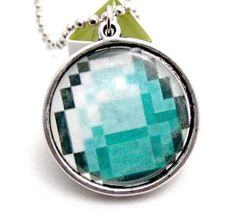 Minecraft Creeper and Diamond Ore Necklace by GeekyGamerShop, $11.00