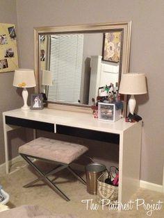 Ikea Hack - desk into vanity. Lol I have done this already. Same desk.