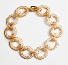 Dania Chelminsky Necklace: Pearls oval links, 2013 Epoxy, pearls, 22k gold, gf 21 x 21 x 1.5 cm