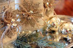 Altered Bottles Tutorial christma bottl, christmas crafts, christmas decorations, christma decor, altered bottles, sheet music, alter bottl, design, bottl snowflak