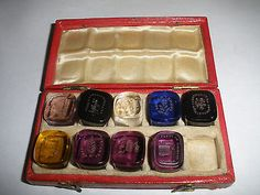 Rare Antique  9 hand made glass wax seal  in original box