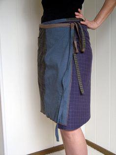 Turnaround Designs Wrap Skirt Reconstructed Upcycled from Men's Shirts Smallish-Mediumish