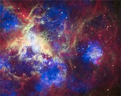 A new composite of 30 Doradus (aka, the Tarantula Nebula) contains data from Chandra (blue), Hubble (green), and Spitzer (red).    30 Doradus is one of the largest star-forming regions located close to the Milky Way.    This region contains thousands of young massive stars, making it an excellent place to study how stars are born.