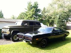 "Miss Mopar's 1972 Dodge Charger aka ""The Little Black Dress"" and the 1966 Dodge Power Wagon Town.  ""Beauty & the Beast""- what a cute Mopar couple ;) Facebook.com/MissMopar"