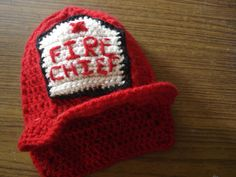 Crochet hat pattern -  crochet fireman hat pattern PDF - 3 sizes
