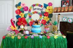 Cool dessert table at a Hawaiian Luau Birthday Party!  See more party ideas at CatchMyParty.com!  #partyideas #hawaiian