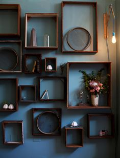 Wooden boxes as shelves.