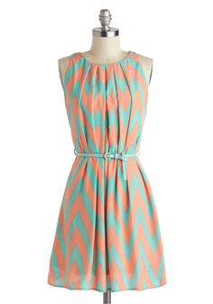 Chevron #style #fashion #dress #peach #pink #teal #green #turquoise