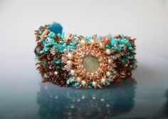 Tropical Coral Reef Embroidered Cuff