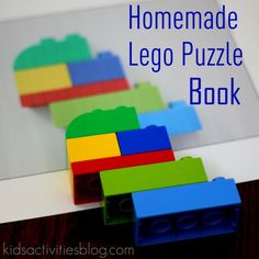 Homemade Lego Puzzle Book books, kid activities, puzzles, lego creations, lego instructions, legos, kids, puzzl book, lego puzzl