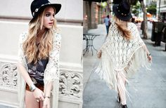 Woven Ribbon and Fringe Shawl, Kill 'Em Ripped Tee, Yokos Suede Shorts, Midnight Wedge Boot