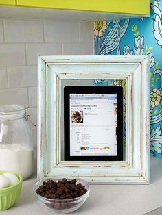 Tablet Stand from an old frame! How cool is this?