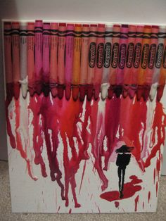 My Valentine's Day present to Katie:  A crayon melt inspired by Pinterest!