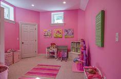 nice, bright basement girl's playroom
