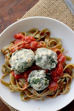 Spinach and Swiss Chard Ravioli Nudi Over Simple Tomato Sauce