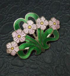 Enamel Basket of Purple Flowers Brooch