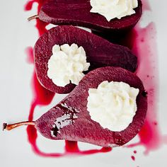 Red Wine Poached Pears & Vanilla Mascarpone filling