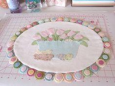 penny rugs, wool felt, sew, craft, easter, wool projects, appliqu, penni rug, de patchwork