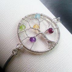 Personalized Tree of Life Bracelet, Birthstone Family Tree Bracelet, Mother's Jewelry. $180.00, via Etsy.
