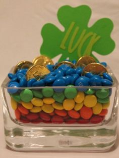 chocolates, yummi pot, candi, st patricks day centerpieces, st patti, rainbow, stpatrick, gold centerpiec, gold coins