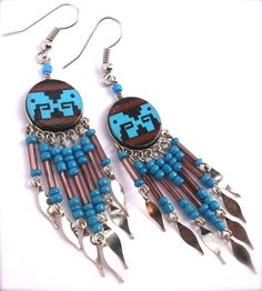 Hand Painted Beaded Dangle Earrings by OraLouiseJewelry on Etsy, $25.00
