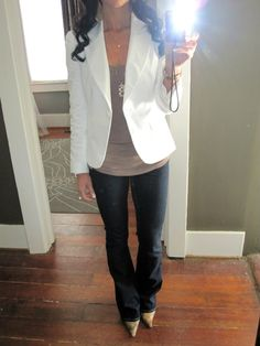 white blazer + neutral top + dark denim + neutral heels
