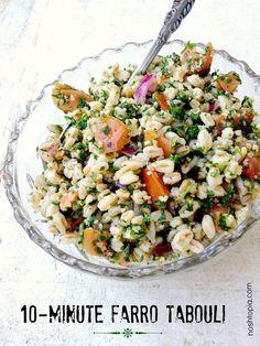 Easy dish: 10-minute Farro Tabouli #recipe #vegan