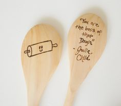 MADE TO ORDER: Wood Burned Kitchen Spoons - Julia Child Quote by TheGoosesNest on Etsy