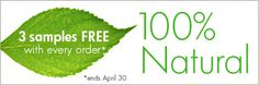 Happy Earth Day!! Shop our 100% Natural Skincare + 3 FREE SAMPLES