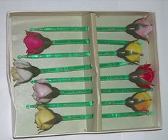 Vintage Cocktail Swizzle Sticks - Highball Stirrer with Roses