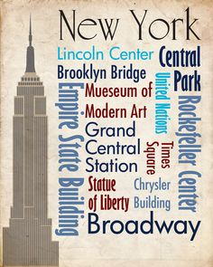 Sights of New York Travel. Very Cool use of Typography.