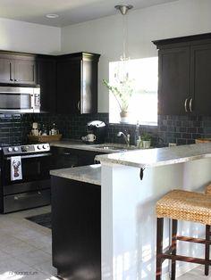 kitchen makeovers, small kitchens, black cabinets, breakfast bars, new kitchens, subway tiles, kitchen ideas, kitchen remodel, kitchen stuff