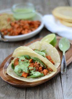 Crispy Quinoa & Spicy Sweet Potato Tacos | mountainmamacooks.com #glutenfree #vegetarian