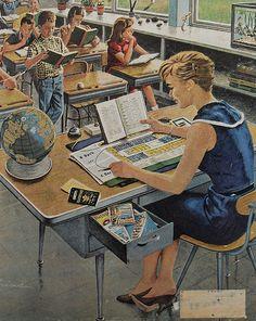 1960s Classroom Illustration