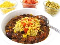 Skinny Taco Chili (Crock-pot or Stove-top) Perfect to make this weekend. It's so yummy and loaded with fiber! Each cup has 230 calories, 2 grams of fat and 6 Weight Watchers POINTS PLUS. http://www.skinnykitchen.com/recipes/skinny-taco-chili-crock-pot-or-stove-top/
