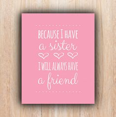 Sisters Quote, INSTANT download, pink, Nursery, sisters, Printable Art, Digital file, nursery wall art, printable sister quote, nursery art