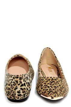 Mixx Shuz Ian Leopard Gold-Toed Pointed Flats at LuLus.com! #lulus #holidaywear